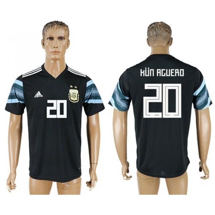 Argentina #20 Kun Aguero Away Soccer Country Jersey