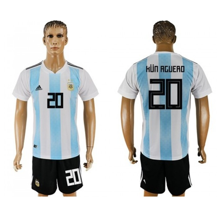 Argentina #20 Kun Aguero Home Soccer Country Jersey