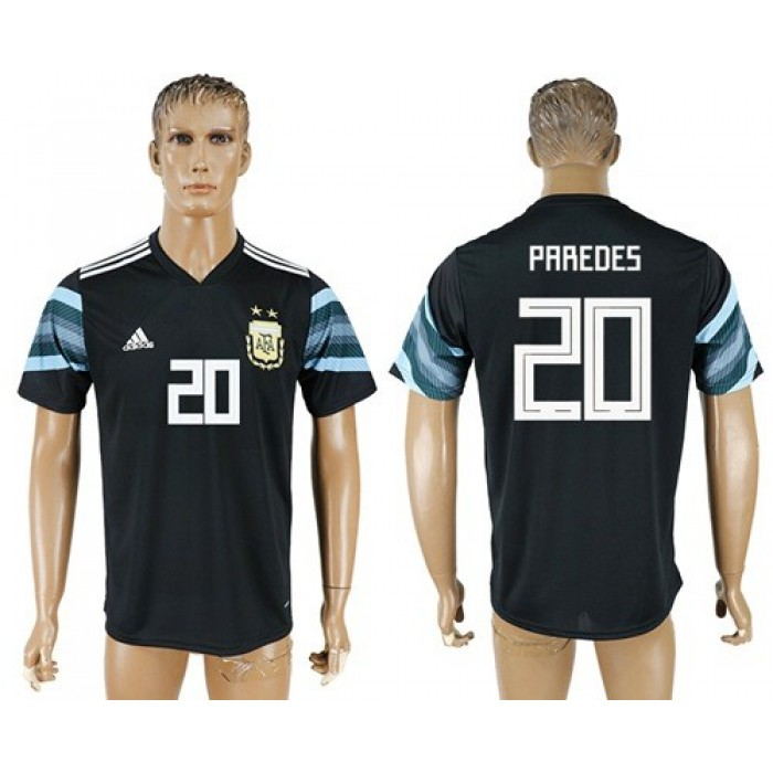 Argentina #20 Paredes Away Soccer Country Jersey