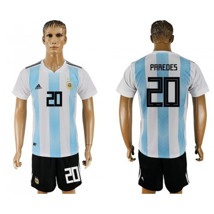Argentina #20 Paredes Home Soccer Country Jersey
