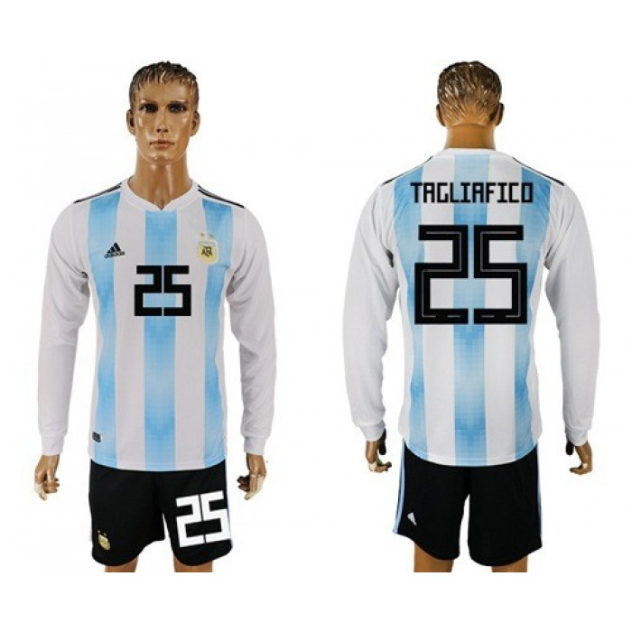 Argentina #25 Tagliafico Home Long Sleeves Soccer Country Jersey