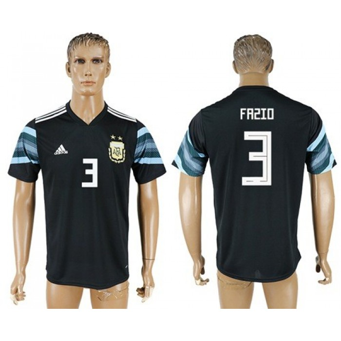 Argentina #3 Fazio Away Soccer Country Jersey