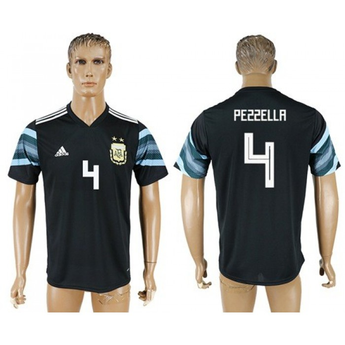 Argentina #4 Pezzella Away Soccer Country Jersey