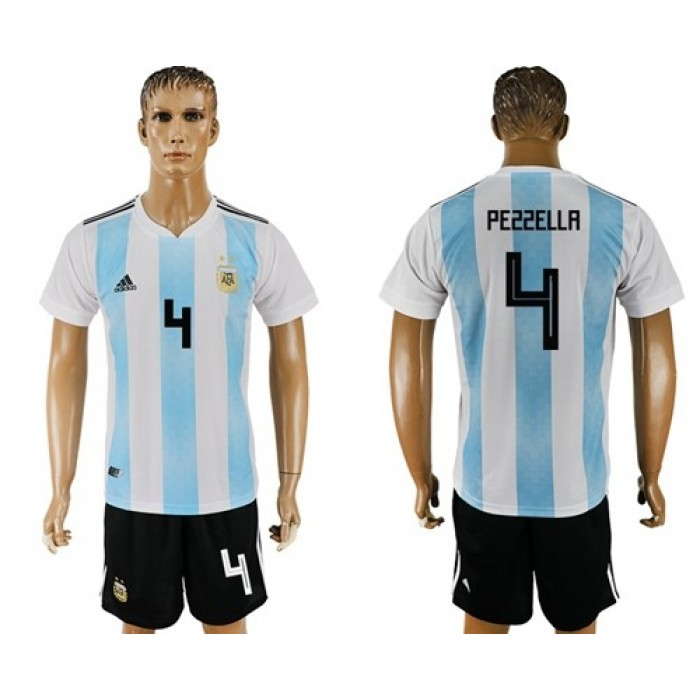 Argentina #4 Pezzella Home Soccer Country Jersey