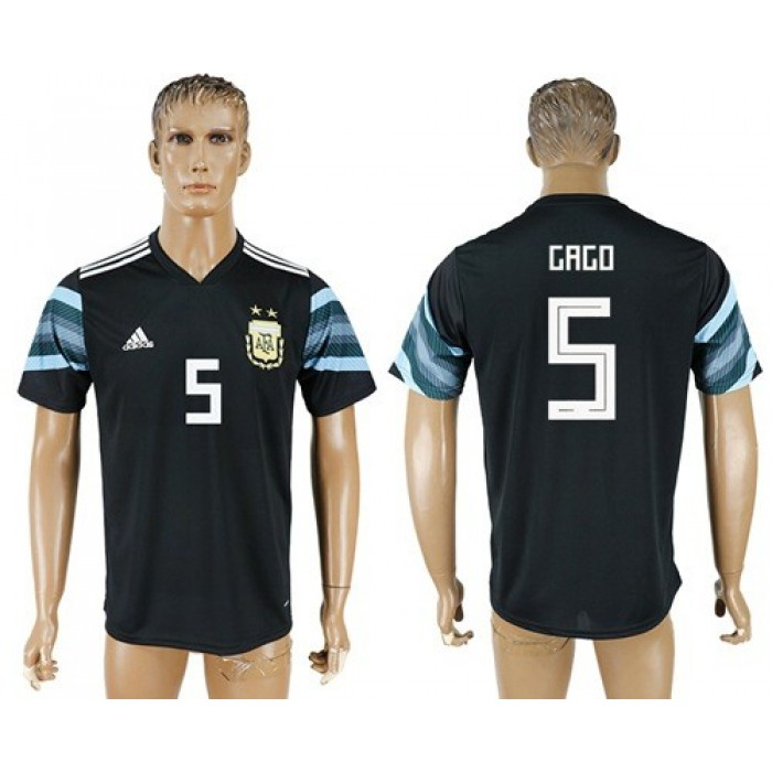 Argentina #5 Gago Away Soccer Country Jersey