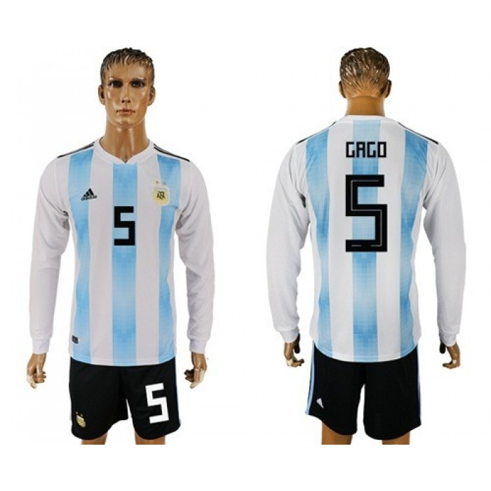 Argentina #5 Gago Home Long Sleeves Soccer Country Jersey