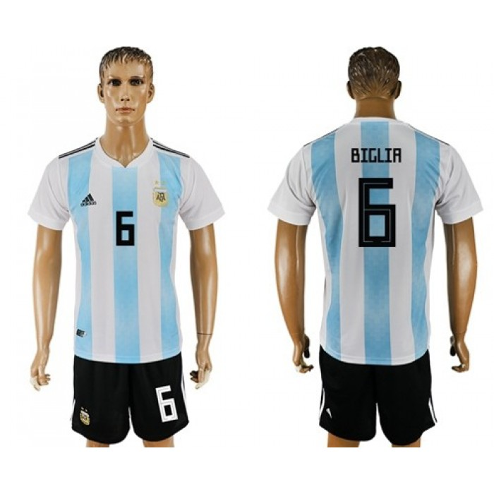 Argentina #6 Biglia Home Soccer Country Jersey