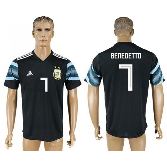 Argentina #7 Benedetto Away Soccer Country Jersey