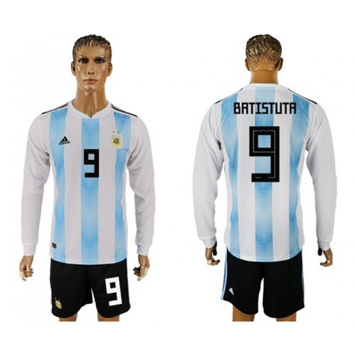 Argentina #9 Batistuta Home Long Sleeves Soccer Country Jersey