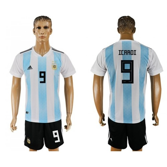 Argentina #9 Icardi Home Soccer Country Jersey