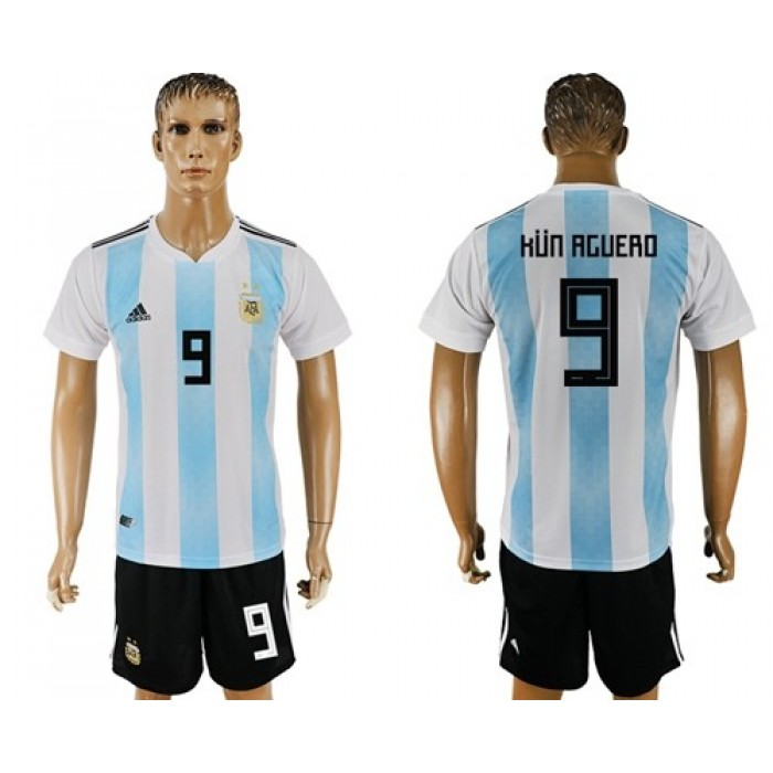 Argentina #9 Kun Aguero Home Soccer Country Jersey
