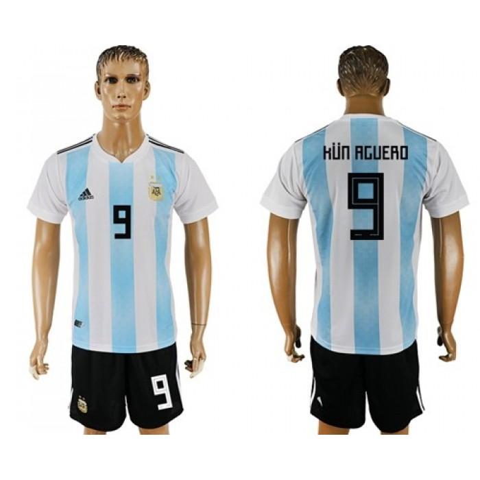 Argentina #9 Kun Aguero Home Soccer Country Jersey