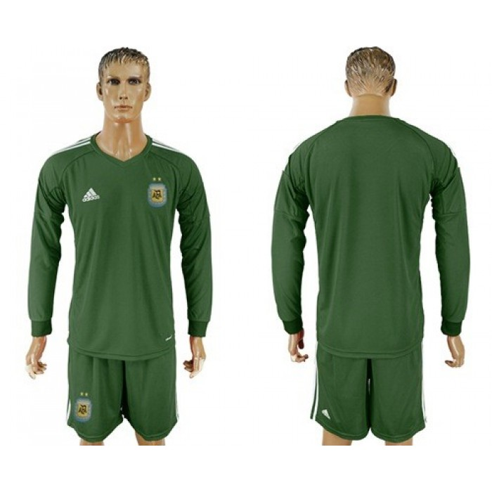 Argentina Blank Army Green Long Sleeves Goalkeeper Soccer Country Jersey