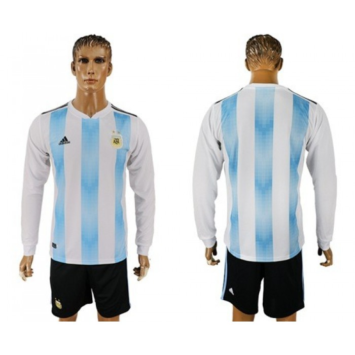 Argentina Blank Home Long Sleeves Soccer Country Jersey