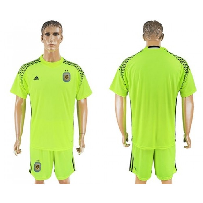 Argentina Blank Shiny Green Goalkeeper Soccer Country Jersey