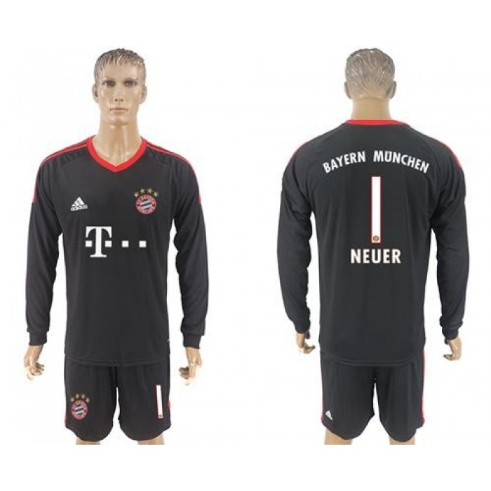 Bayern Munchen #1 Neuer Black Goalkeeper Long Sleeves Soccer Club Jersey