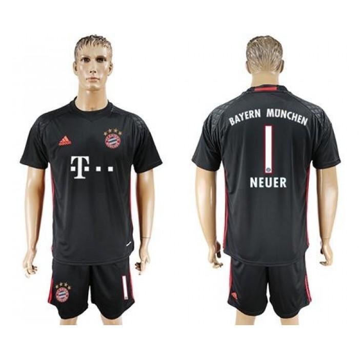 Bayern Munchen #1 Neuer Black Goalkeeper Soccer Club Jersey