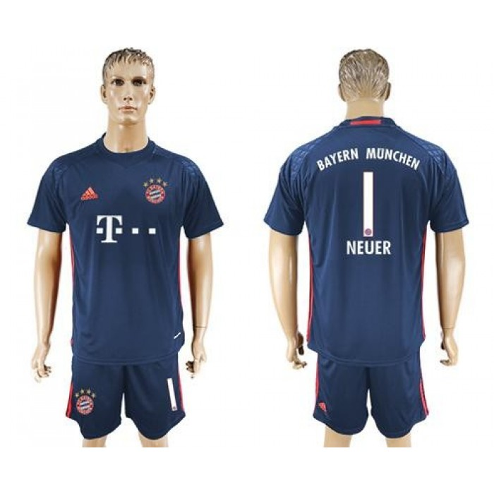 Bayern Munchen #1 Neuer Dark Blue Goalkeeper Soccer Club Jersey