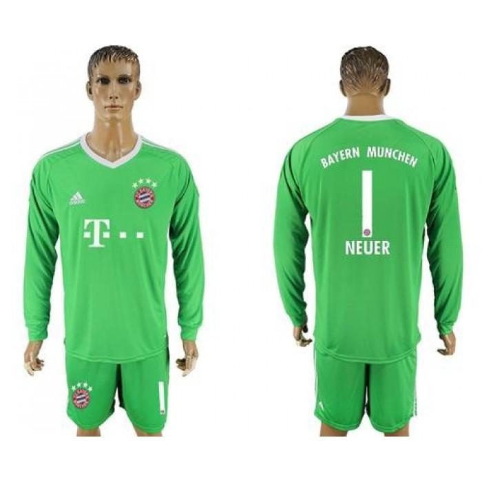 Bayern Munchen #1 Neuer Green Goalkeeper Long Sleeves Soccer Club Jersey