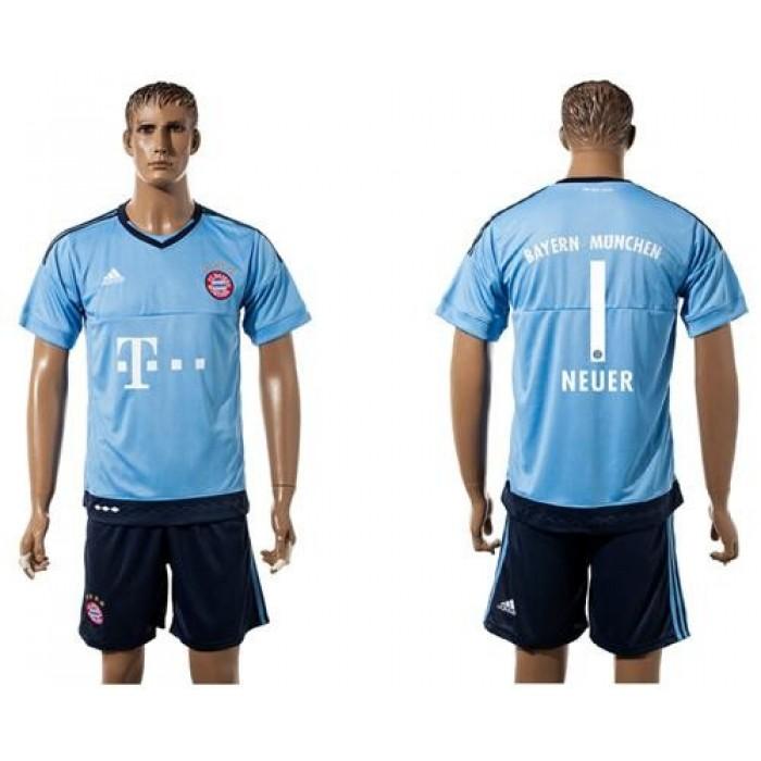 Bayern Munchen #1 Neuer Light Blue Goalkeeper Soccer Club Jersey