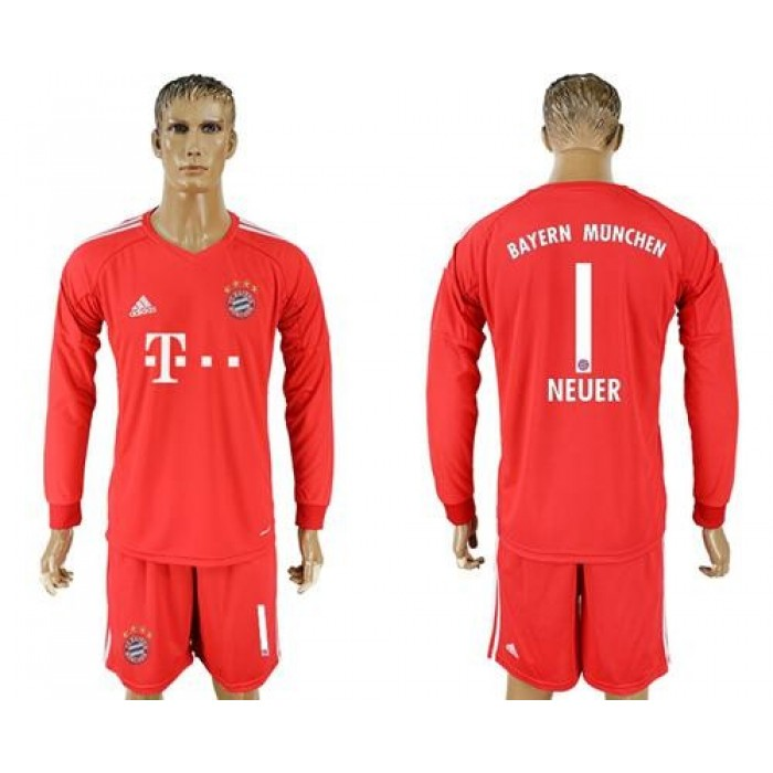 Bayern Munchen #1 Neuer Red Goalkeeper Long Sleeves Soccer Club Jersey