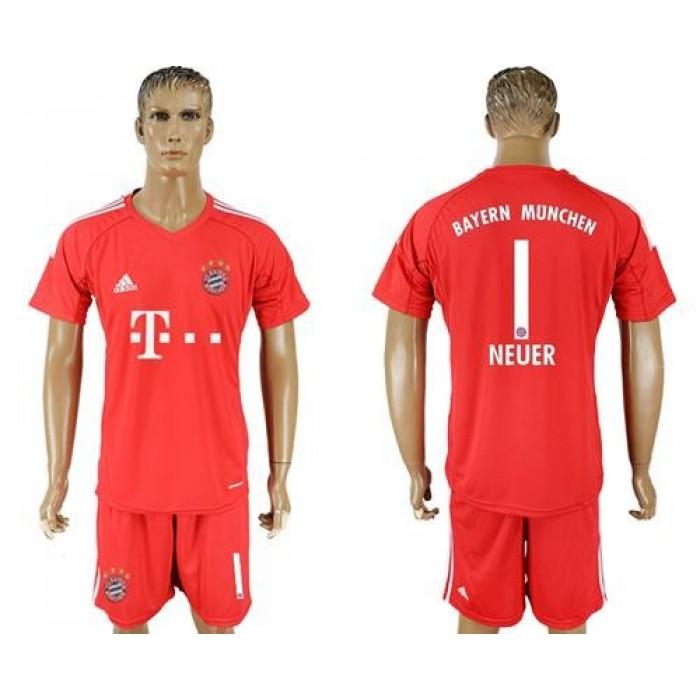Bayern Munchen #1 Neuer Red Goalkeeper Soccer Club Jersey