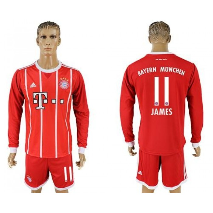 Bayern Munchen #11 James Home Long Sleeves Soccer Club Jersey
