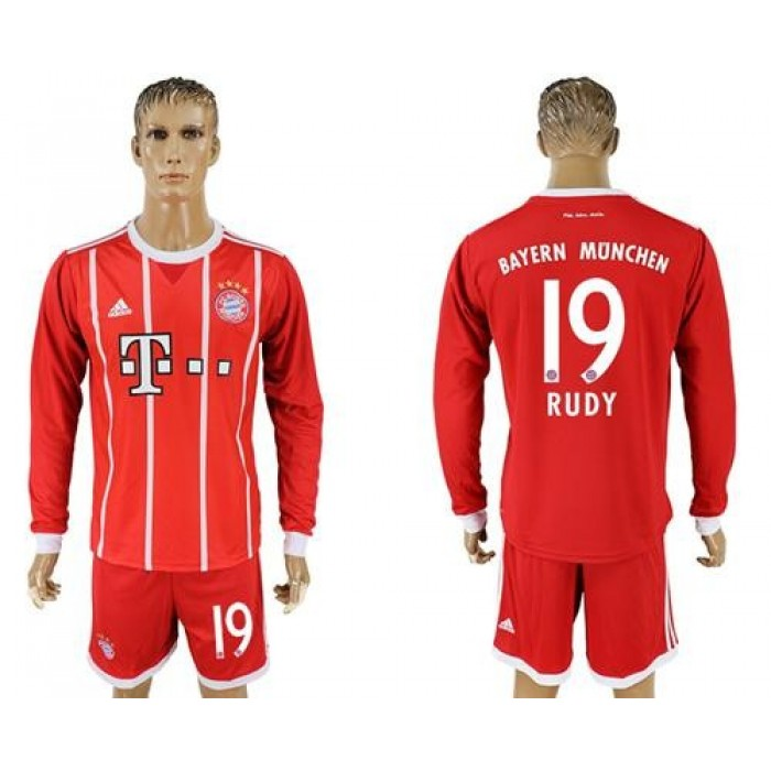 Bayern Munchen #19 Rudy Home Long Sleeves Soccer Club Jersey