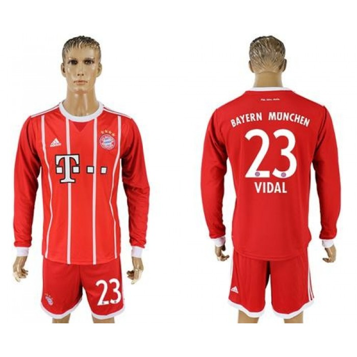 Bayern Munchen #23 Vidal Home Long Sleeves Soccer Club Jersey