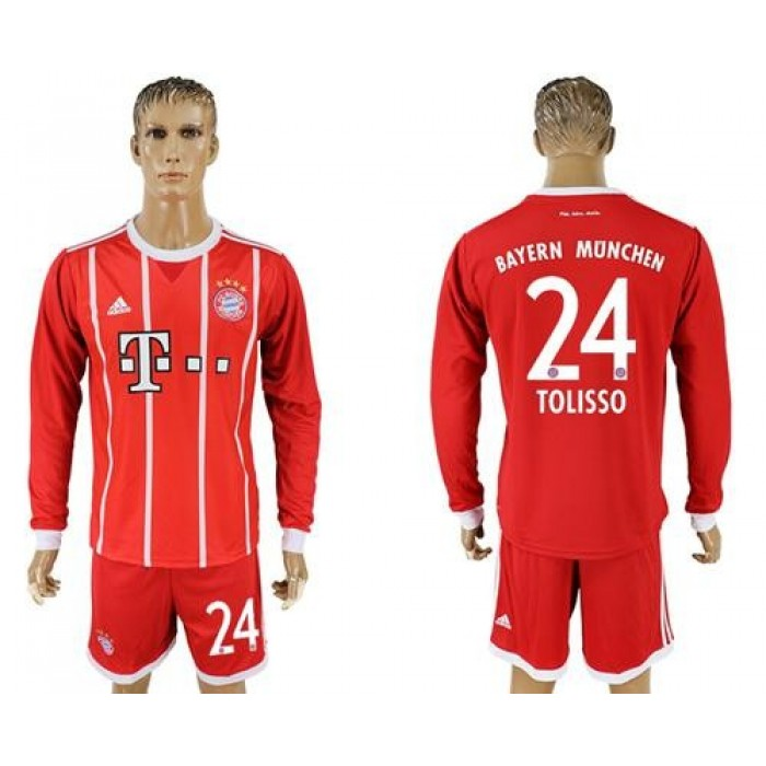 Bayern Munchen #24 Tolisso Home Long Sleeves Soccer Club Jersey