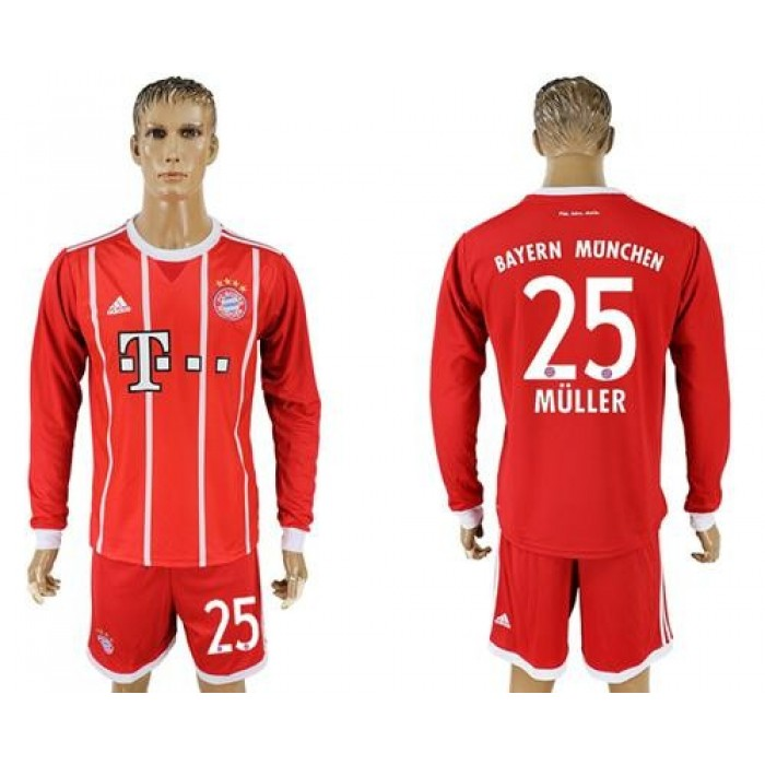 Bayern Munchen #25 Muller Home Long Sleeves Soccer Club Jersey