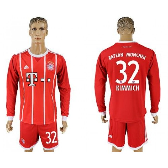 Bayern Munchen #32 Kimmich Home Long Sleeves Soccer Club Jersey