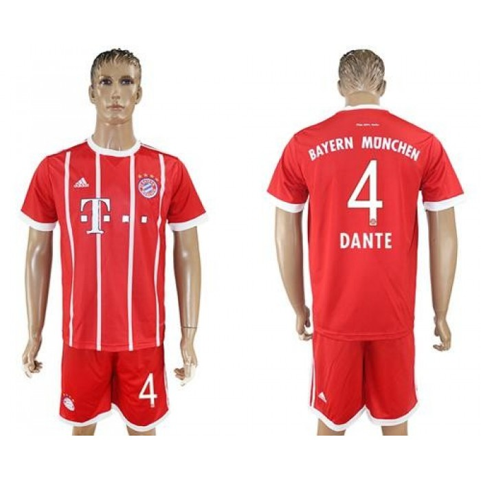 Bayern Munchen #4 Dante Home Soccer Club Jersey
