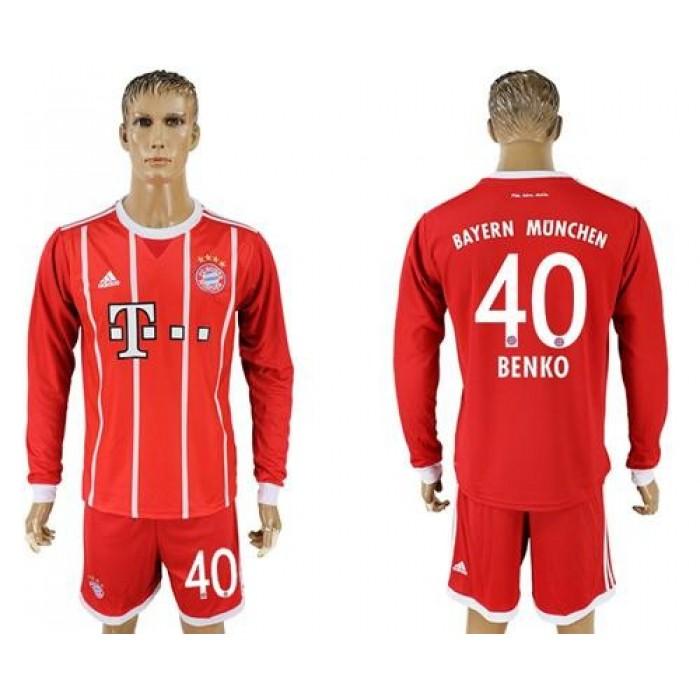 Bayern Munchen #40 Benko Home Long Sleeves Soccer Club Jersey