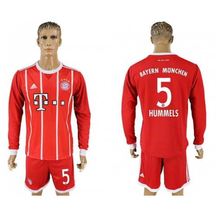 Bayern Munchen #5 Hummels Home Long Sleeves Soccer Club Jersey