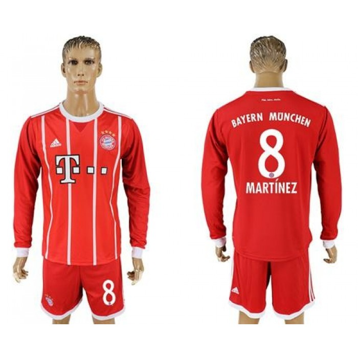 Bayern Munchen #8 Martinez Home Long Sleeves Soccer Club Jersey