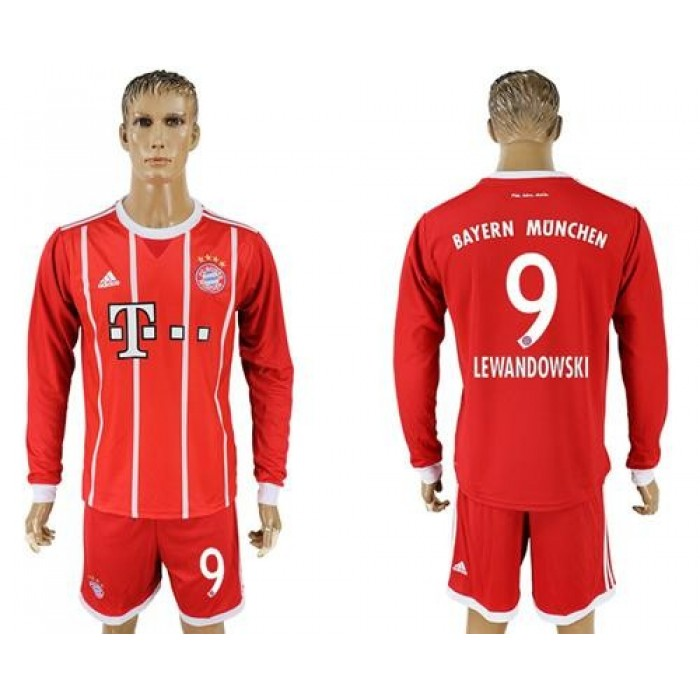 Bayern Munchen #9 Lewandowski Home Long Sleeves Soccer Club Jersey