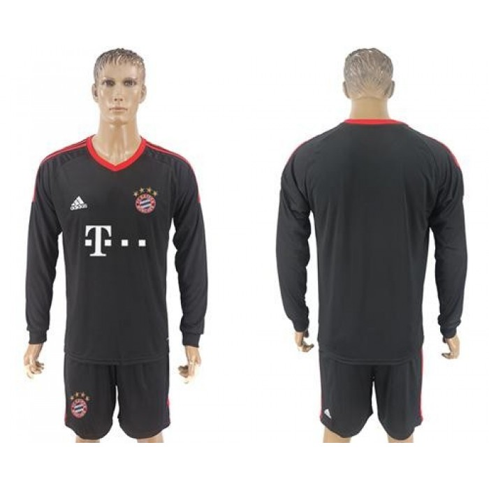 Bayern Munchen Blank Black Goalkeeper Long Sleeves Soccer Club Jersey