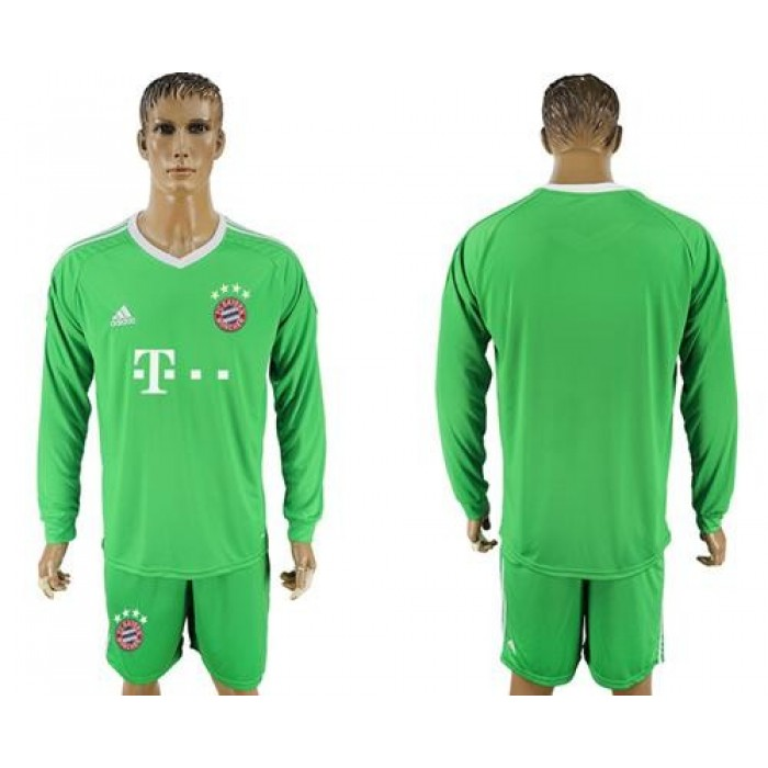Bayern Munchen Blank Green Goalkeeper Long Sleeves Soccer Club Jersey