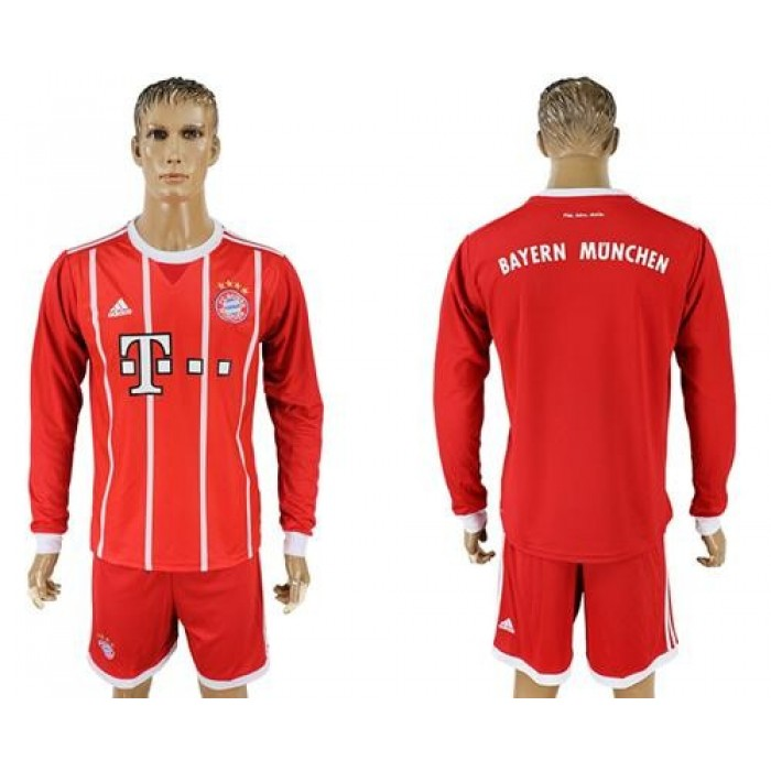 Bayern Munchen Blank Home Long Sleeves Soccer Club Jersey
