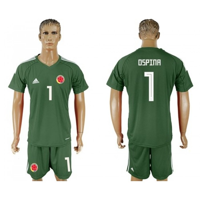 Colombia #1 Ospina Green Goalkeeper Soccer Country Jersey
