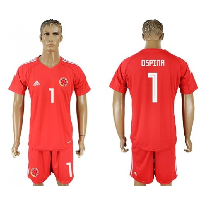 Colombia #1 Ospina Red Goalkeeper Soccer Country Jersey