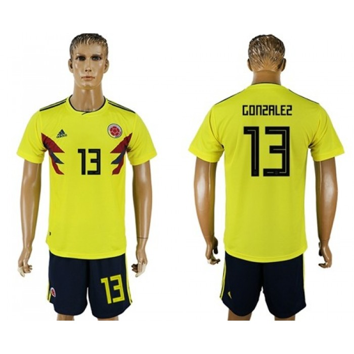 Colombia #13 Gonzalez Home Soccer Country Jersey