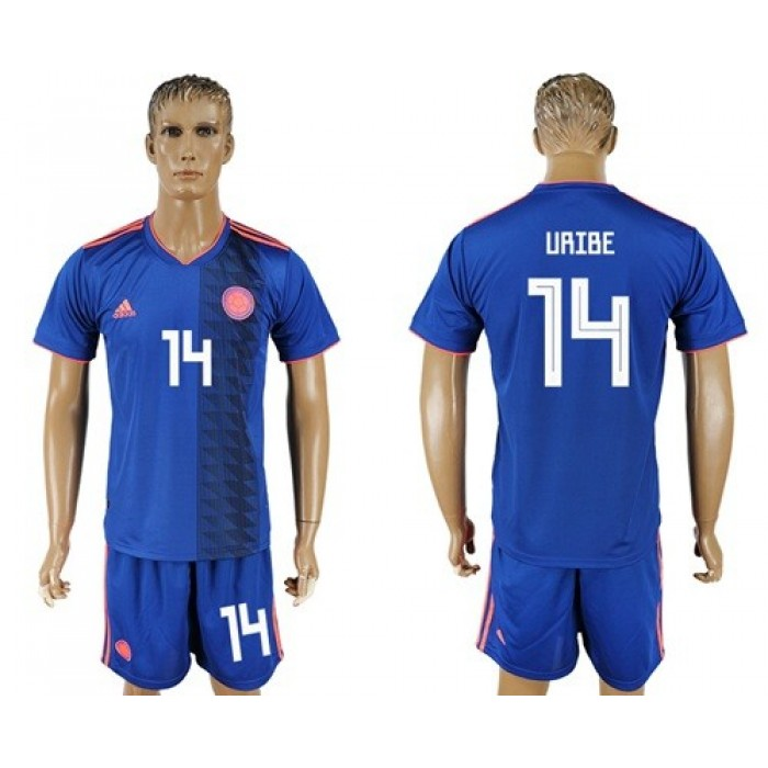 Colombia #14 Uribe Away Soccer Country Jersey
