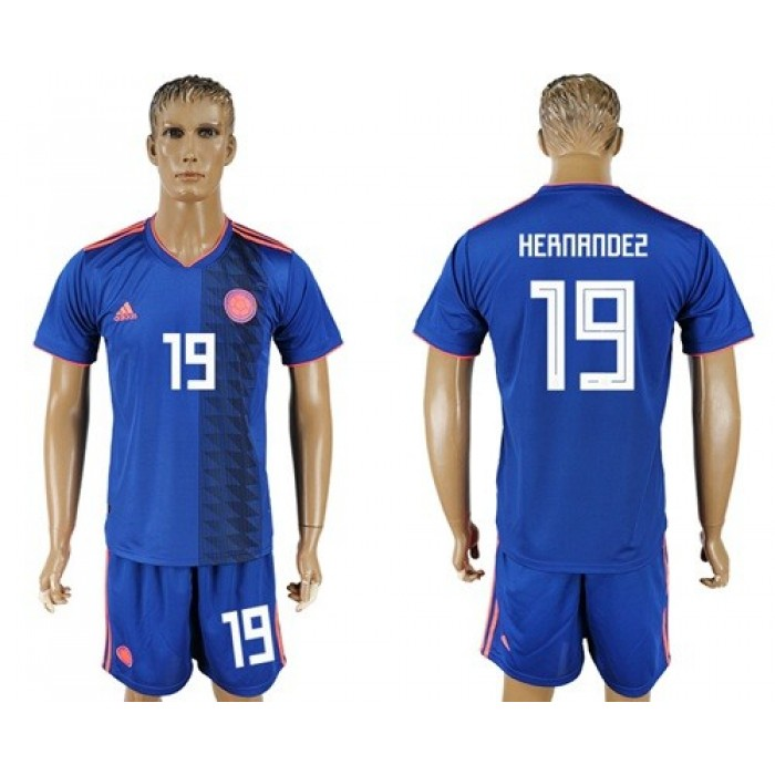 Colombia #19 Hernandez Away Soccer Country Jersey