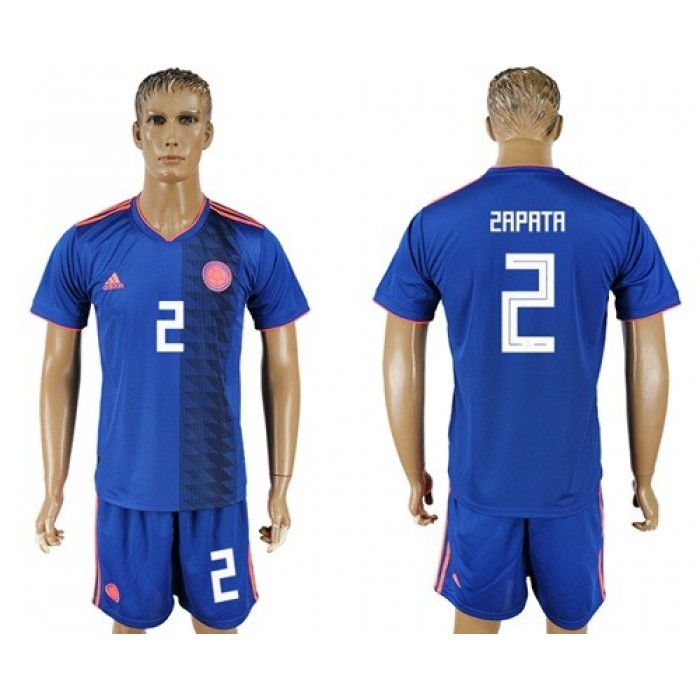 Colombia #2 Zapata Away Soccer Country Jersey