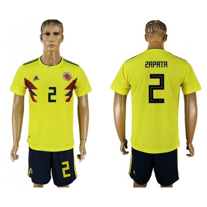Colombia #2 Zapata Home Soccer Country Jersey