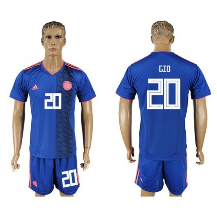 Colombia #20 Gio Away Soccer Country Jersey