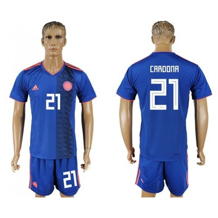 Colombia #21 Cardona Away Soccer Country Jersey