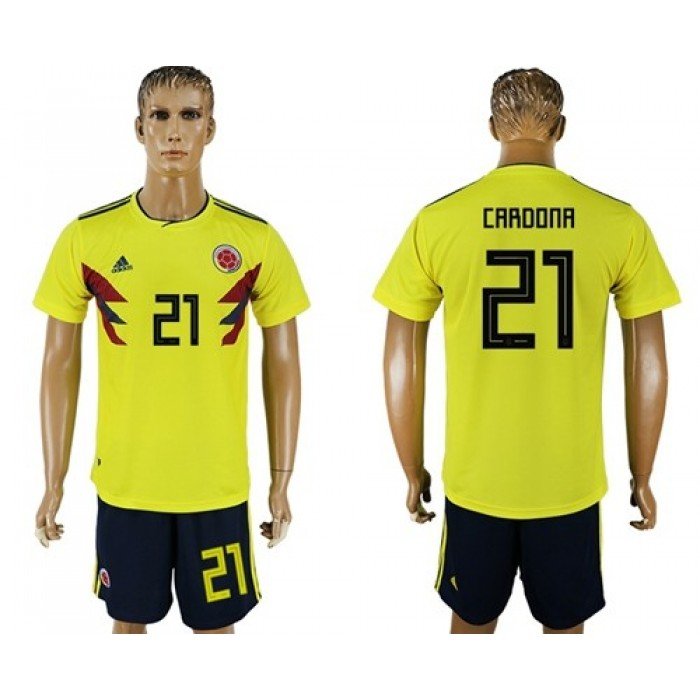 Colombia #21 Cardona Home Soccer Country Jersey